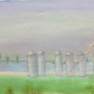 New town silos in fog - 50 inches x 19 inches - oil on canvas - $600